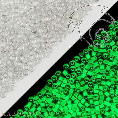 Бисер Toho Светло-серый/светящийся в темноте ярко-зеленый