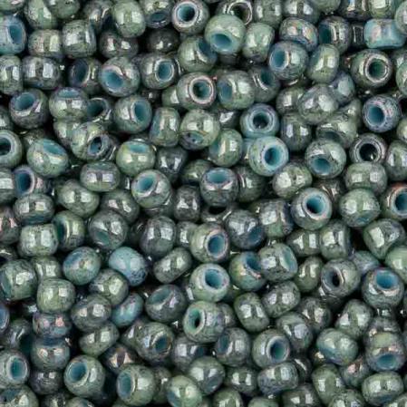 Бисер Toho 11-0 Мраморный непрозрачный бирюзовый-прозрачный глянц. голубой