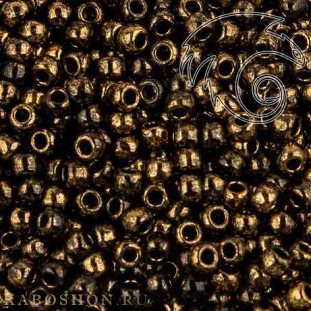 Бисер Toho Позолоченный 24К мраморный черный