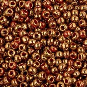 Бисер Toho 11-0 Позолоченный 24К мраморный красный