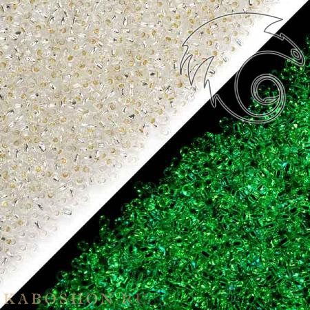 Бисер Toho PF Внутреннее серебрение хрусталь/светящийся в темноте зеленый