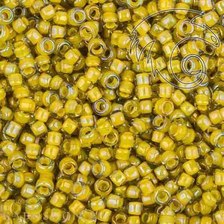Бисер Toho Окрашенный изнутри глянц.черный бриллиант/непрозр.желтый