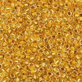 Бисер Toho 15-0 Окрашенный изнутри хрусталь-золотое покрытие 24К