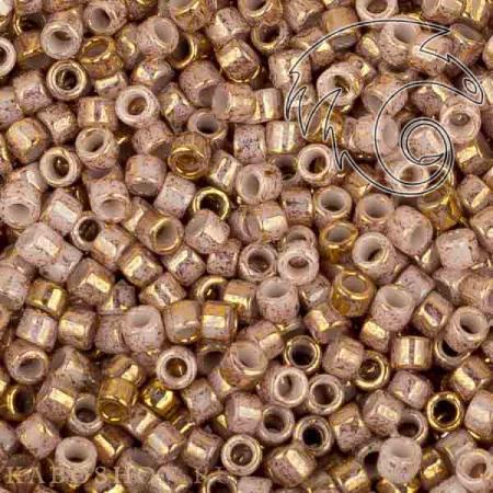 Бисер Toho Treasures Позолоченный 24К мраморный серебристо-белый