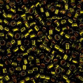 Бисер Toho Treasures Внутренняя позолота оливковый