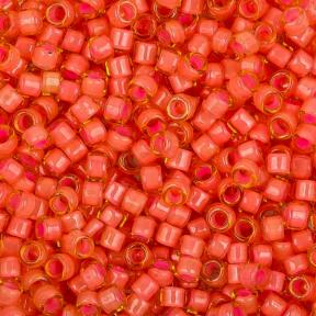 Бисер Toho Treasures Окрашенный изнутри светлый топаз-розовый коралл