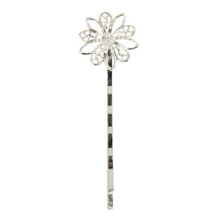 Основа для заколки-невидимки цветок 64х19 мм посеребренная