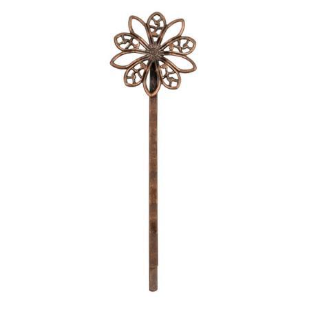 Основа для заколки-невидимки цветок 64х19 мм старинная медь