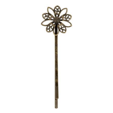 Основа для заколки-невидимки цветок 64х19 мм старинная бронза