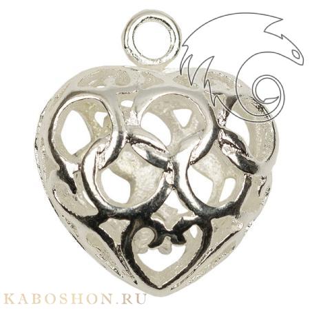 Подвеска филигранная сердце 17х15 мм посеребренная