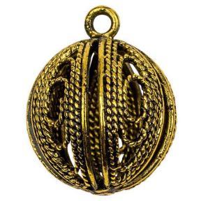 Подвеска филигранная 16х9 мм старинное золото