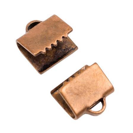 Зажим для ленты 6х5 мм старинная медь (1 пара)