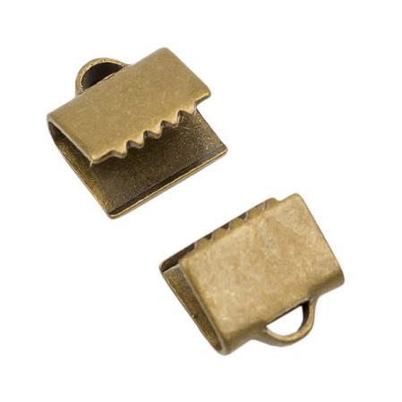 Зажим для ленты 6х5 мм старинная бронза (1 пара)