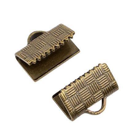 Зажим для ленты 10х6 мм старинная бронза (1 пара)