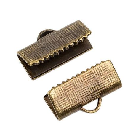 Зажим для ленты 12х6 мм старинная бронза (1 пара)