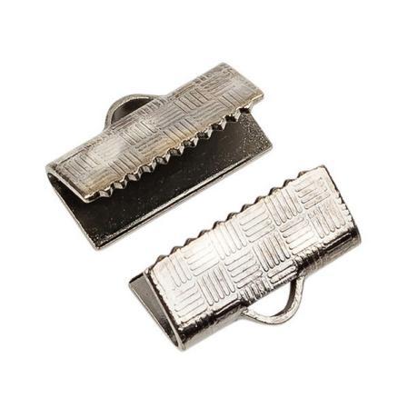 Зажим для ленты 12х6 мм черный никель (1 пара)