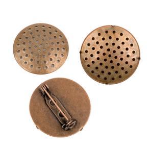 Основа для броши 25 мм старинная медь