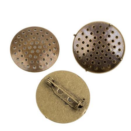 Основа для броши 25 мм старинная бронза