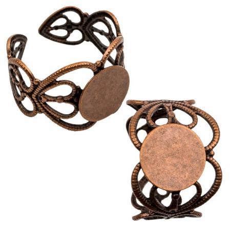 Основа для кольца филигранная 14 мм старинная медь