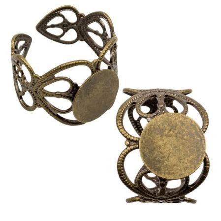 Основа для кольца филигранная 14 мм старинная бронза