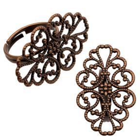 Основа для кольца с ажурной площадкой 32х20 мм старинная медь
