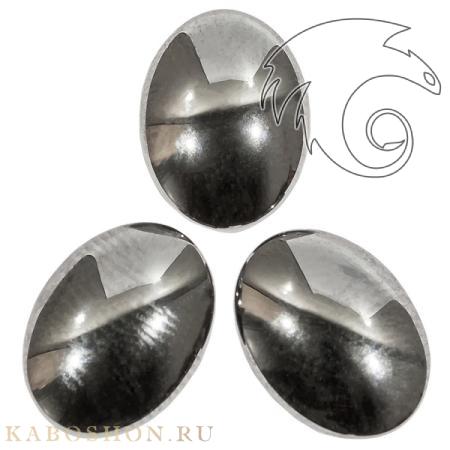Гематит искусственный (гематин) овальный 16х12 мм