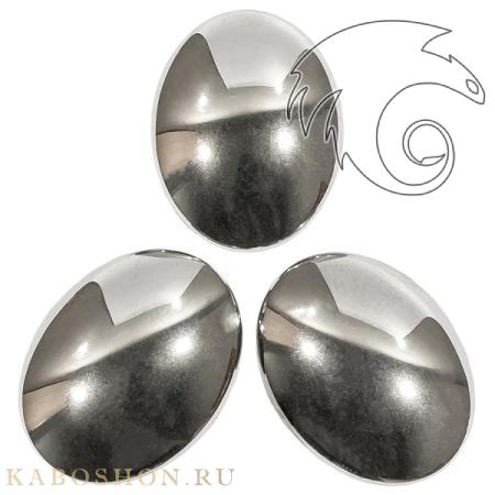 Гематит искусственный (гематин) серебристый овальный 30х22 мм