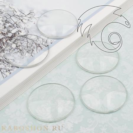 Кабошон стеклянный круглый 35 мм 595235