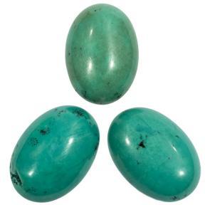 Бирюза прессованная зеленая овальная 25х18 мм