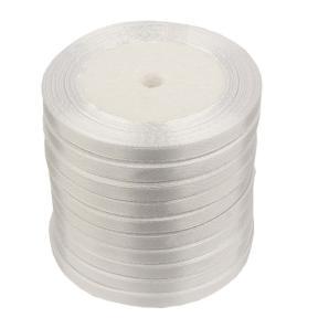 Лента атласная 6 мм белая (катушка 21мх10 шт)