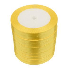 Лента атласная 6 мм желтая (катушка 21мх10 шт)