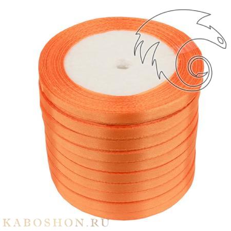 Лента атласная 6 мм оранжевая (катушка 21м х 10 шт)
