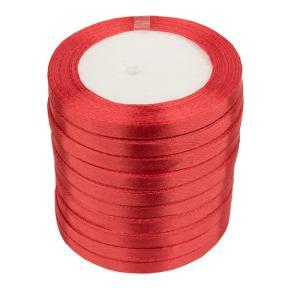 Лента атласная 6 мм красная (катушка 21мх10 шт)