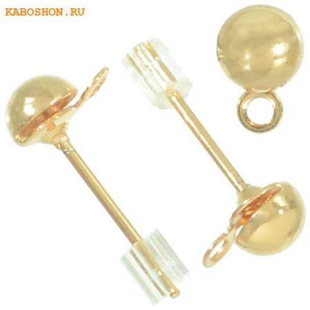 Пуссеты золото (1 пара) с заглушками