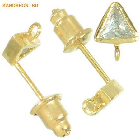 Пуссеты золото с треугольным фианитом (1 пара) с заглушками