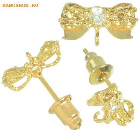 Пуссеты золото бант с фианитами (1 пара) с заглушками