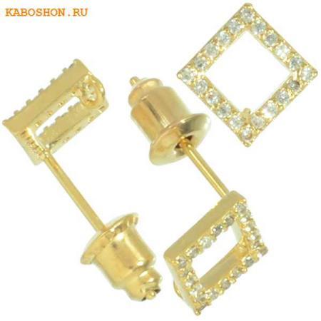 Пуссеты золото ромб с фианитами (1 пара) с заглушками kr-3007-gold