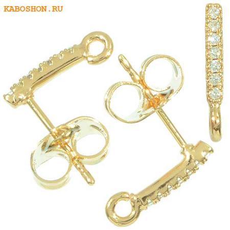 Пуссеты золото с фианитами (1 пара) с заглушками